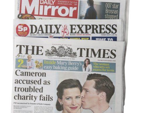 Titelblätter mehrerer britischer Tageszeitungen aus dem Jahr 2015. Foto: Pixabay